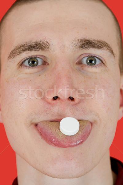 наркотиков наркоман красный изолированный глаза закрывается Сток-фото © pzaxe