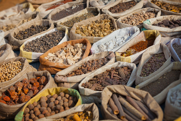 Spices are sold on the open east market. India, Pushkar Stock photo © pzaxe