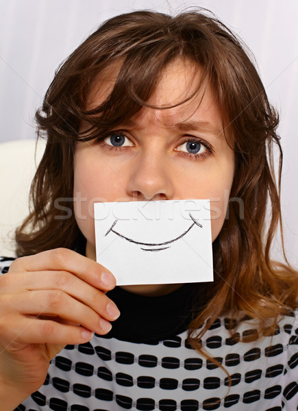 Tired woman smiles as may Stock photo © pzaxe