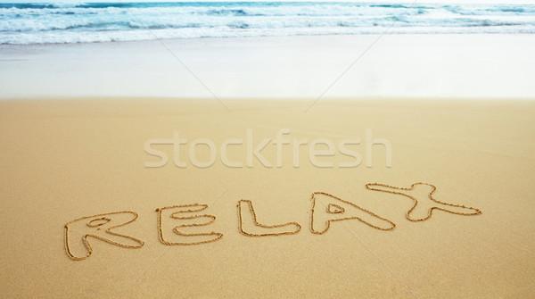 Felirat tengerparti homok pihen felület tengerpart kék Stock fotó © pzaxe