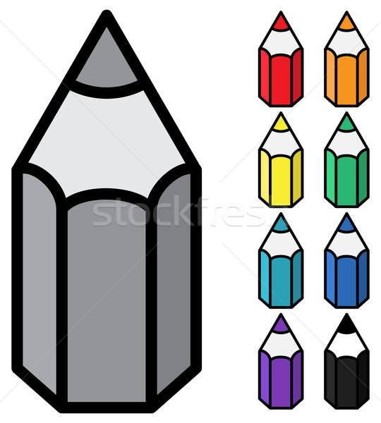 Vektor egyszerű színesceruza fehér szín ceruzák Stock fotó © pzaxe