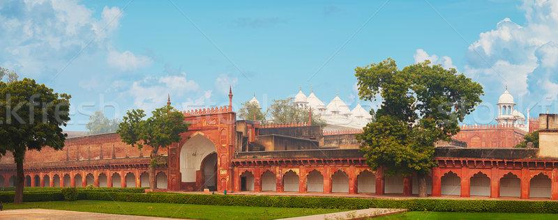 Rosso fort India panorama cielo nubi Foto d'archivio © pzaxe