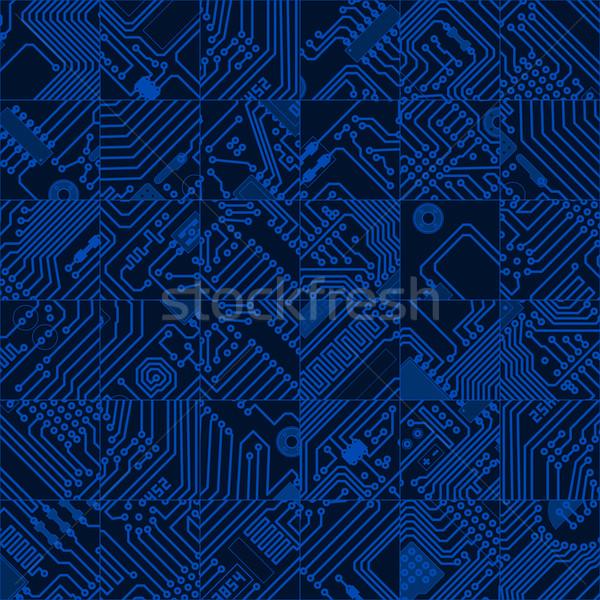 Ordenador circuito oscuro azul patrón vector Foto stock © pzaxe