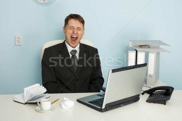 бизнесмен скука лице кофе ноутбука Сток-фото © pzaxe