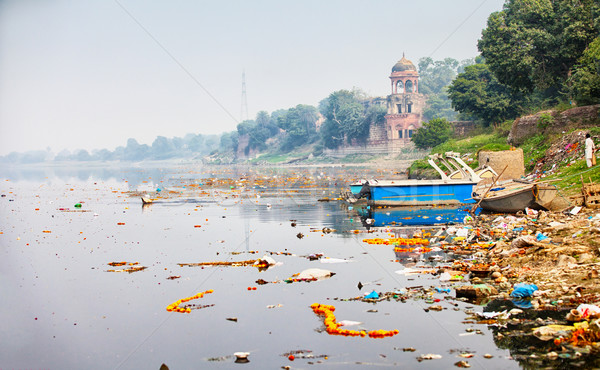 Bank of Yamuna river near Taj Mahal. India, Agra Stock photo © pzaxe