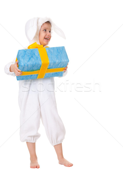 Young boy in a bunny suite with gift Stock photo © pzaxe