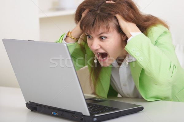Woman disappointed with dialogue in Internet Stock photo © pzaxe