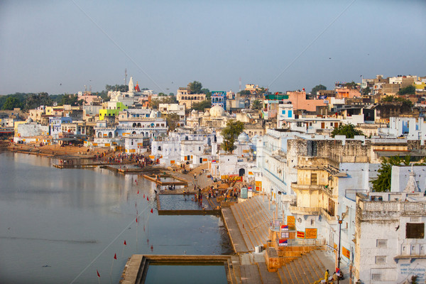 Panorama of the city and sacred lake. India, Pushkar Stock photo © pzaxe