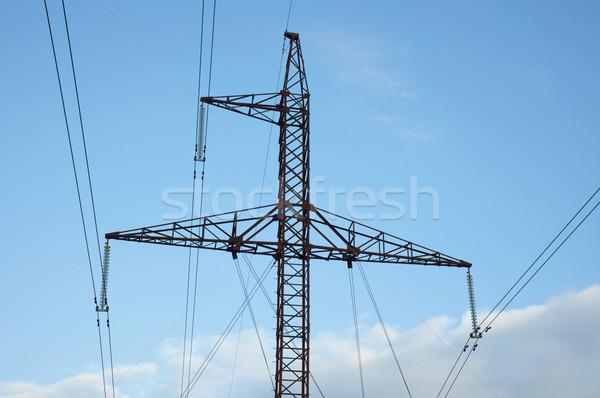 Stock fotó: Fém · távvezeték · kék · ég · égbolt · tájkép · technológia