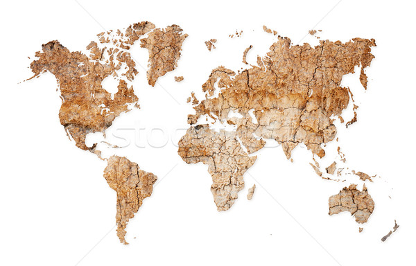 World map - continents from dry deserted soil Stock photo © pzaxe
