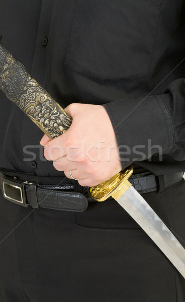 Sword in male hand Stock photo © pzaxe