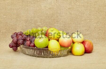 Classica frutta vetro vino rosso tela alimentare Foto d'archivio © pzaxe