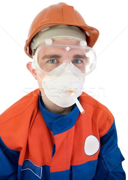 Helm sigaret witte man Blauw leuk Stockfoto © pzaxe