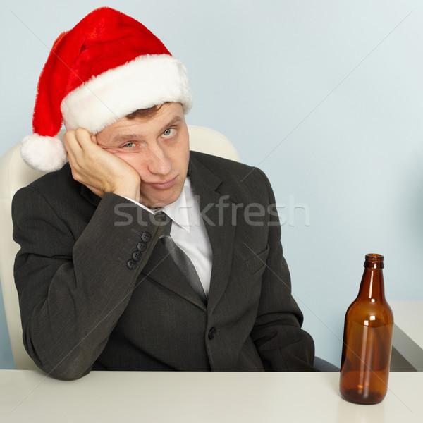 Smutne człowiek cierpienie kac christmas młody człowiek Zdjęcia stock © pzaxe