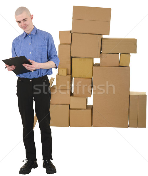Messenger and pile of cardboard boxes Stock photo © pzaxe