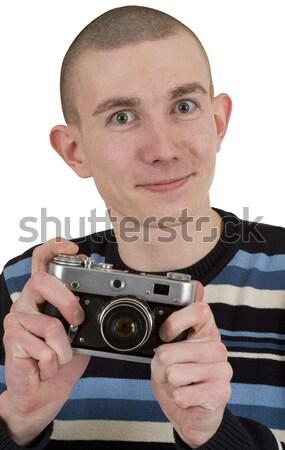 Soddisfatto giovane vintage foto fotocamera effettuati Foto d'archivio © pzaxe