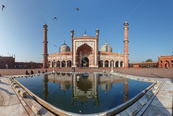 Indiai tájékozódási pont mecset Delhi panoráma égbolt Stock fotó © pzaxe