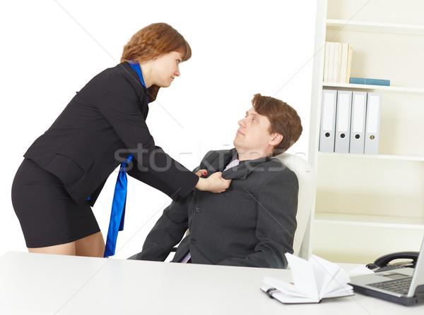 Brigar homens escritório sério jovens mulher Foto stock © pzaxe