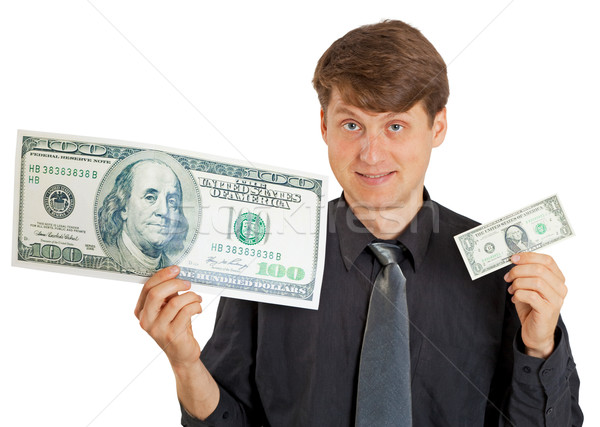 Sorridente pessoa escolha poucos dinheiro mãos Foto stock © pzaxe