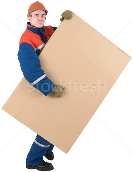 Doboz sisak fehér férfi kék piros Stock fotó © pzaxe