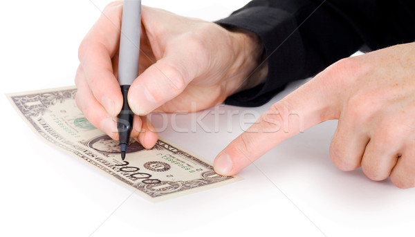 Male hand draw nil on dollar  Stock photo © pzaxe