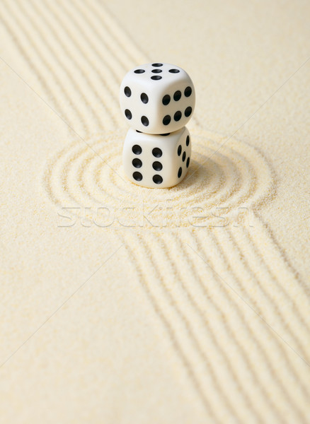 Dices on sand in rock garden Stock photo © pzaxe