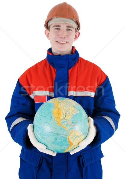 Arbeider wereldbol helm witte hand man Stockfoto © pzaxe