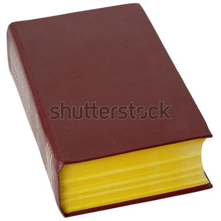 Stock photo: Big book in brown leather cover on white