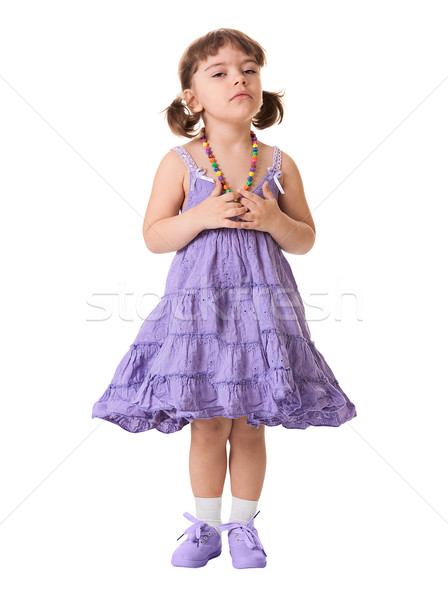 Little dissatisfied girl on a white background Stock photo © pzaxe