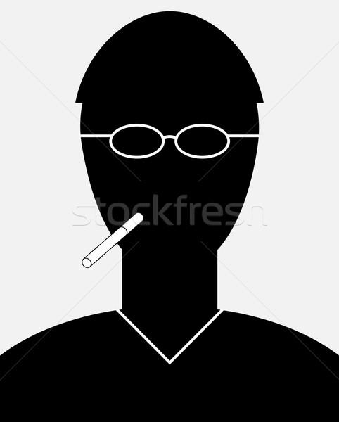 Fumeur portrait simple silhouette homme cigarette Photo stock © pzaxe