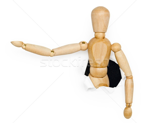 Toy wooden person was put out from hole Stock photo © pzaxe