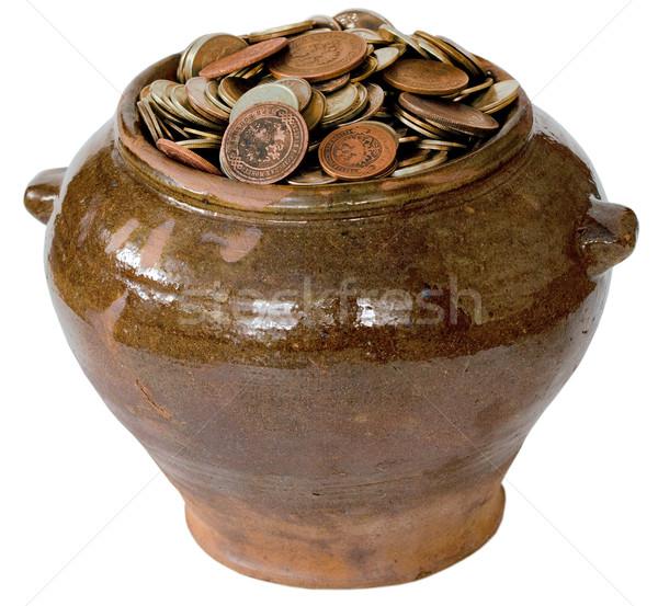 Ceramic pot with metal vintage money Stock photo © pzaxe