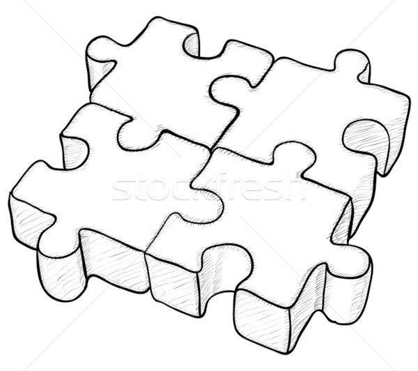 Shaped vector drawing - puzzle Stock photo © pzaxe