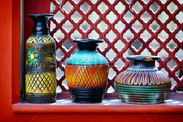 Vintage vases on the windowsill. India Stock photo © pzaxe
