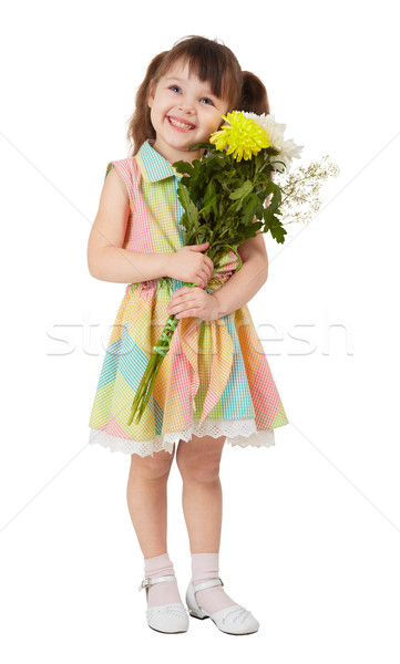 Smiling happy girl with big bouquet of asters Stock photo © pzaxe