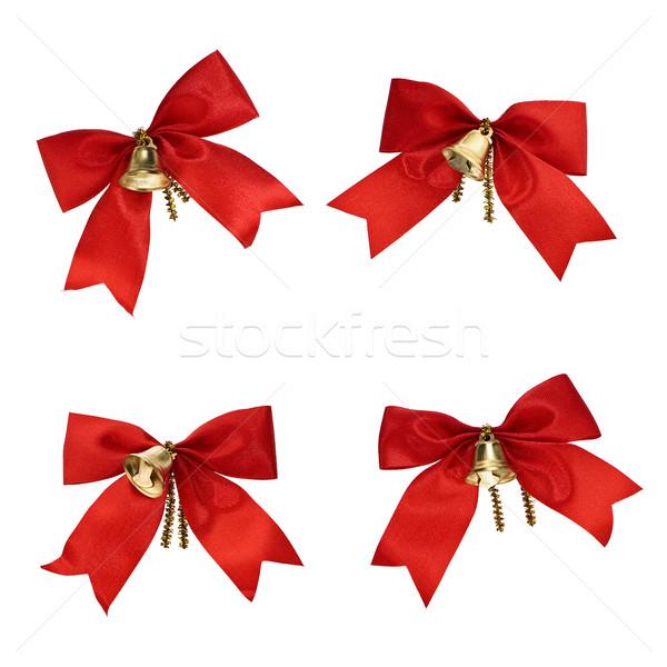 Weihnachten Dekorationen rot Bänder einfache Design Stock foto © pzaxe