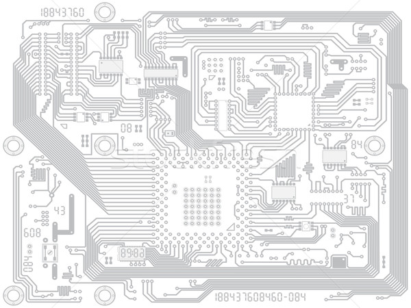 Circuit board vector computer drawing - electronic motherboard Stock photo © pzaxe
