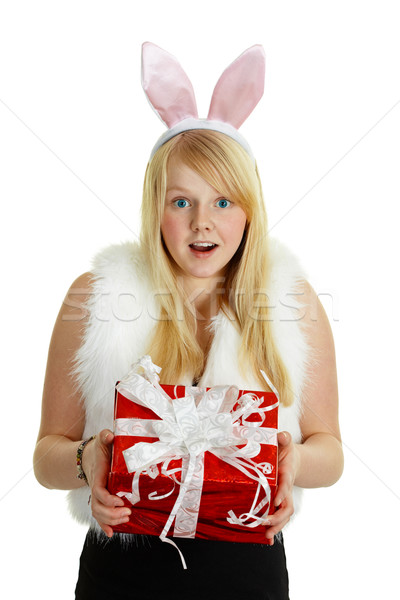 Happy smiling girl with a gift - rabbit Stock photo © pzaxe
