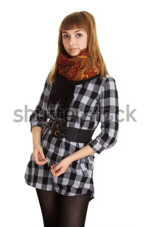 Fashionably dressed young woman on white background Stock photo © pzaxe