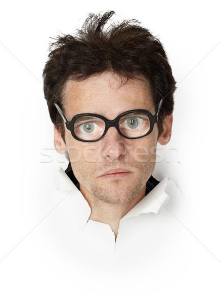 Zdjęcia stock: Funny · człowiek · okulary · głowie · papieru · twarz