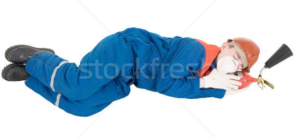 Werknemer man slapen hand leuk Rood Stockfoto © pzaxe
