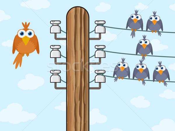 Séance oiseaux technologie sans fil nuages nature urbaine Photo stock © pzaxe