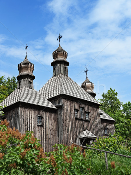 Büyük eski ahşap ortodoks kilise Ukrayna Stok fotoğraf © pzaxe