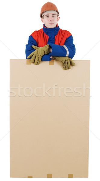 Finestra casco bianco uomo lavoratore lavoro Foto d'archivio © pzaxe