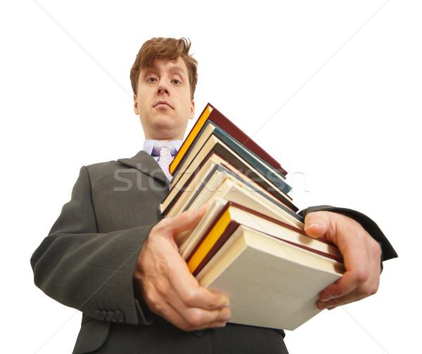 Homem livros didáticos moço grande Foto stock © pzaxe