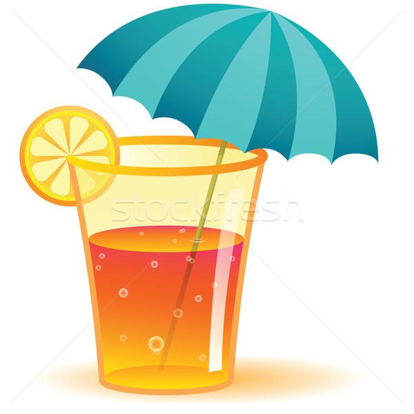 Long drink illustrazione vetro cocktail limone alcol Foto d'archivio © qiun