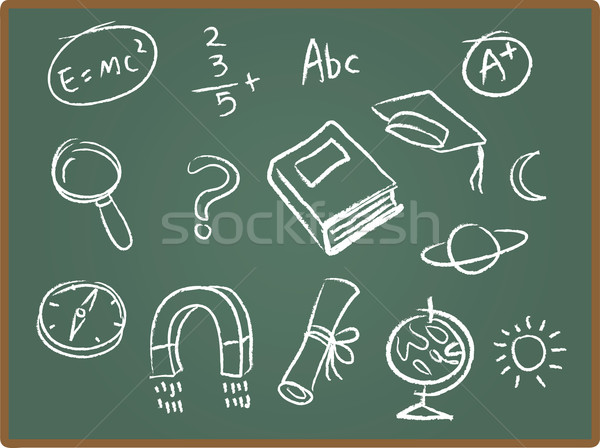 School Icons on ChalkBoard Stock photo © qiun