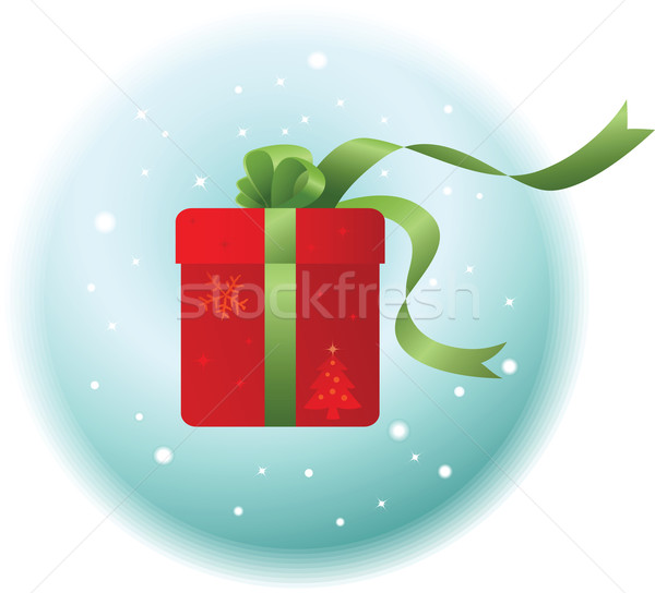 Navidad regalo ilustración rojo verde cinta Foto stock © qiun