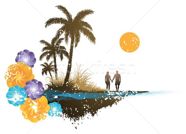 пальма рай женщину пляж человека закат Сток-фото © qiun