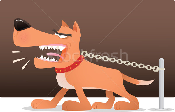 Hond illustratie keten angst boos cartoon Stockfoto © qiun